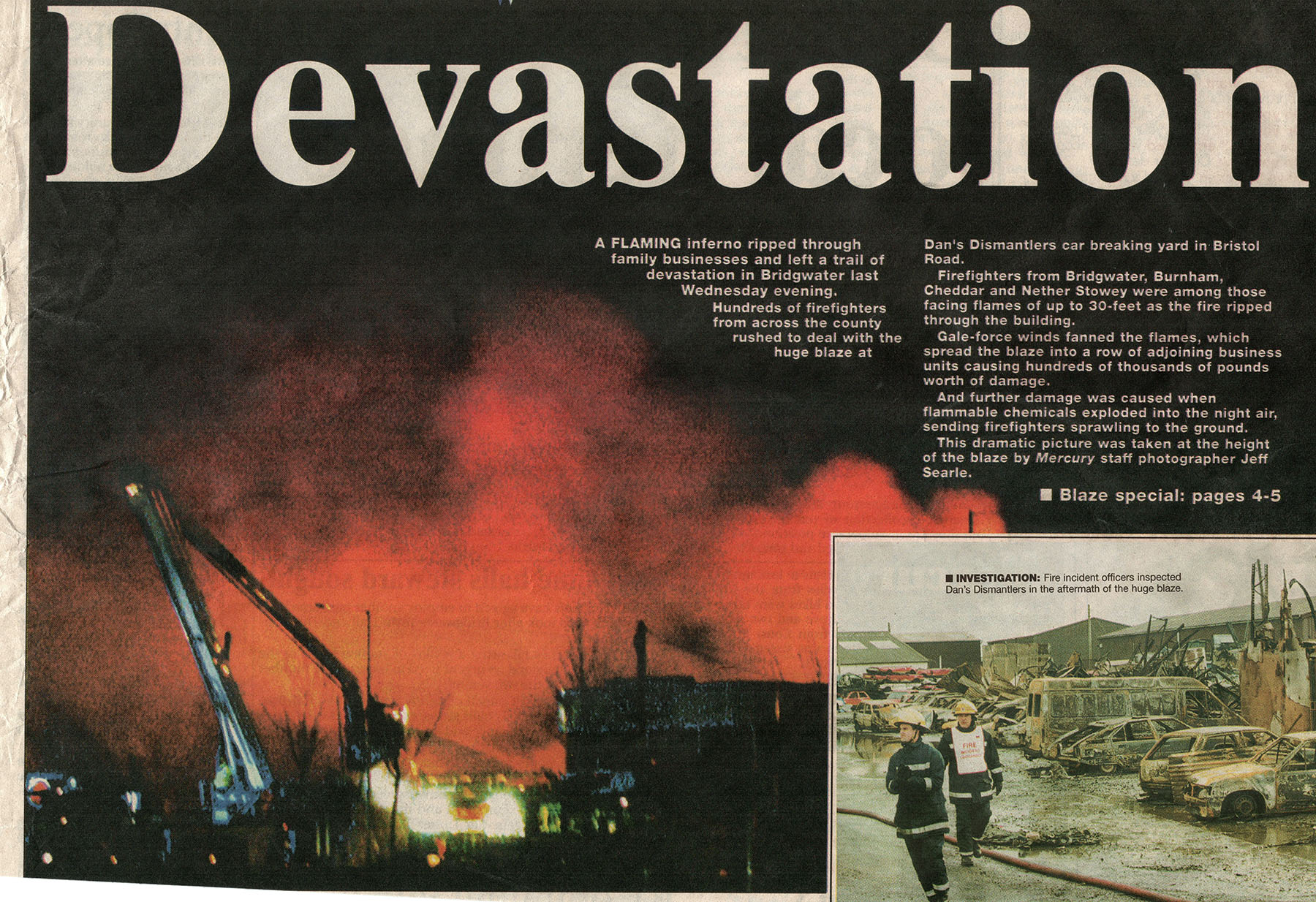 newspaper clipping about the wireworks estate fire