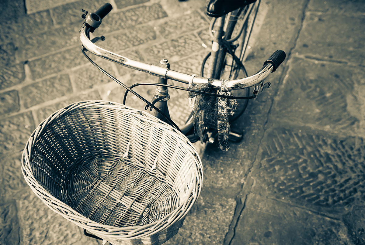bicycle basket on a bicycle