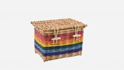 Woven willow ashes casket, rectangular in shape and rainbow in colour