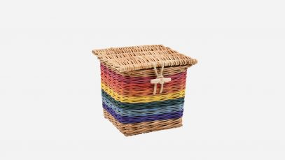 Woven willow ashes casket, square in shape and rainbow in colour