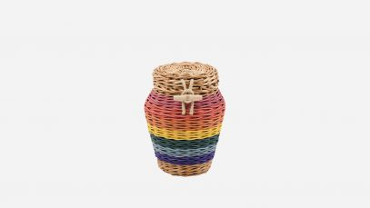 Woven willow ashes urn, round in shape and rainbow in colour