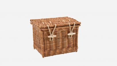 Woven willow ashes casket, rectangular in shape and buff in colour