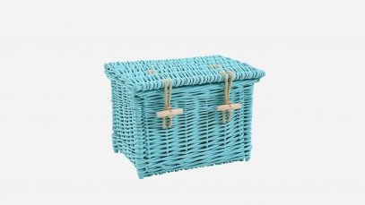 Woven willow ashes casket, rectangular in shape and painted turquoise in colour