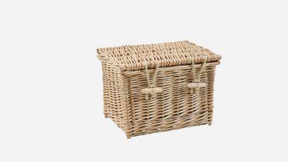 Woven willow ashes casket, rectangular in shape and weatherbeaten gold in colour