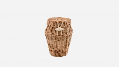 Woven willow ashes urn, round in shape and buff in colour