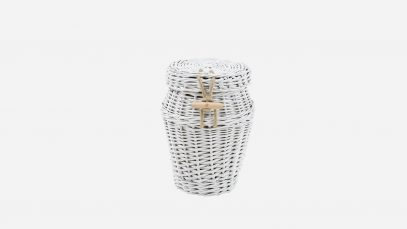 Woven willow ashes urn, round in shape and painted white in colour