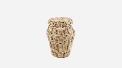 Woven willow ashes urn, round in shape and weatherbeaten in colour