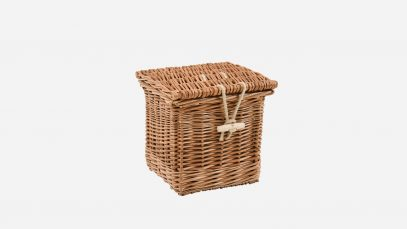 Woven willow ashes casket, square in shape and buff in colour