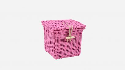 Woven willow ashes casket, square in shape and painted pink in colour