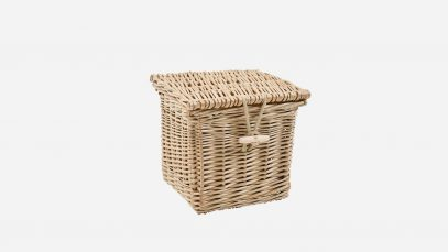 Woven willow ashes casket, square in shape and weatherbeaten gold in colour